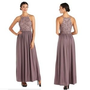 NW Nightway Halter Sequin Dress Size 10 Taupe